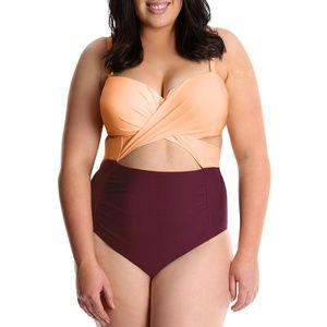 NWT Lysa Swim 1 Piece Cut Out Swimsuit 0X-3X